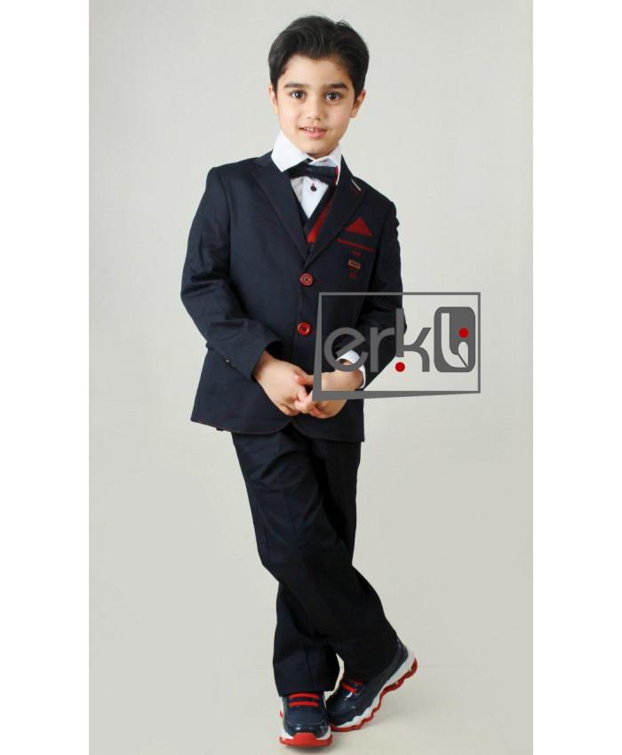 ست کت و شلوار و پیراهن و کراوات پسرانه بچه گانه دامادی مارک ترک, کت و شلوار اسپرت مجلسی مدل erikli-b3